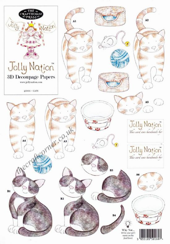 Black & White And Ginger Cats Jolly Nation 3D Decoupage Sheet